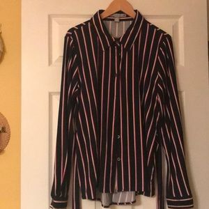 So soft navy with strips blouse